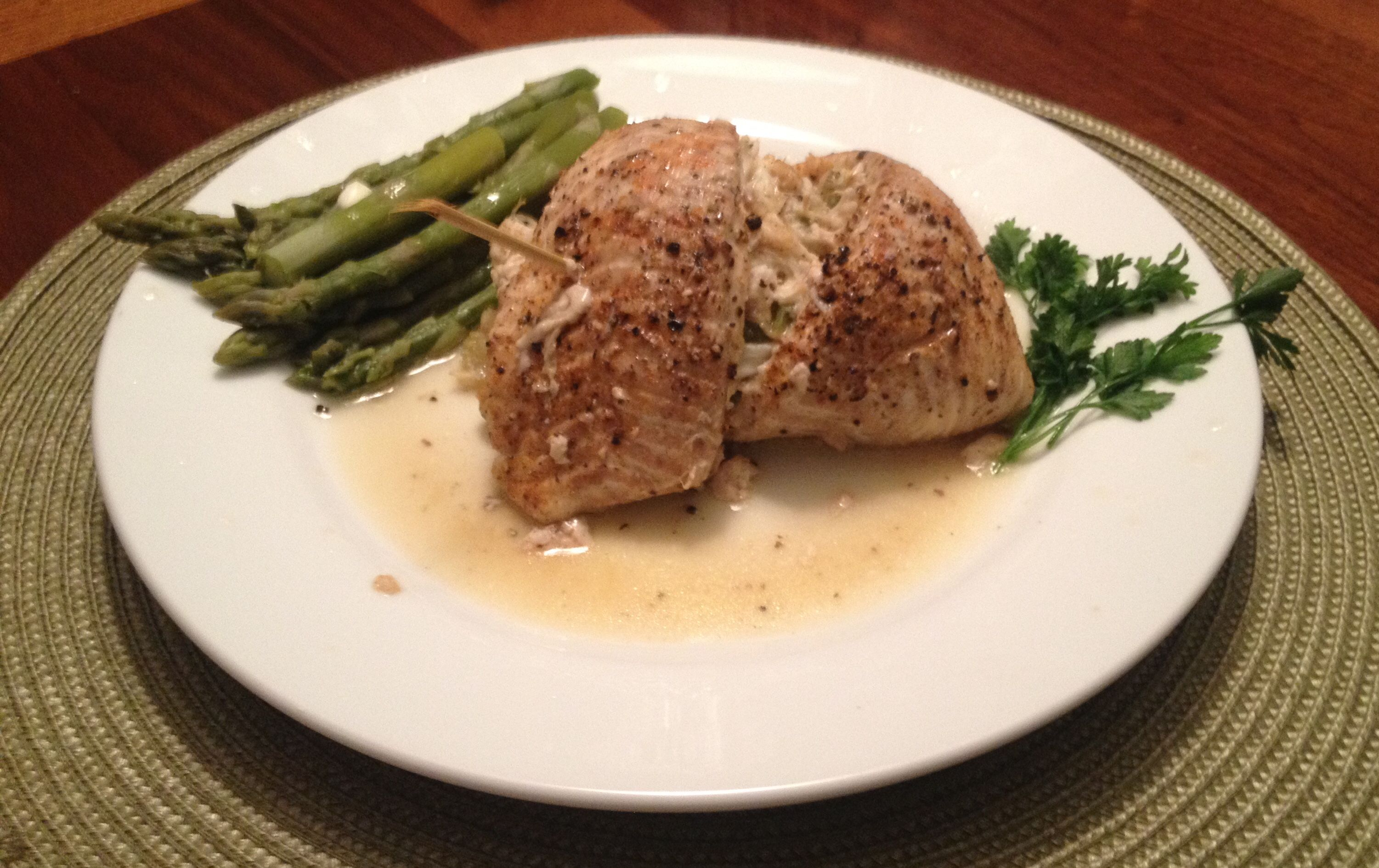 Garlic roasted stuffed flounder with crab meat !! OMG ! SO delicious