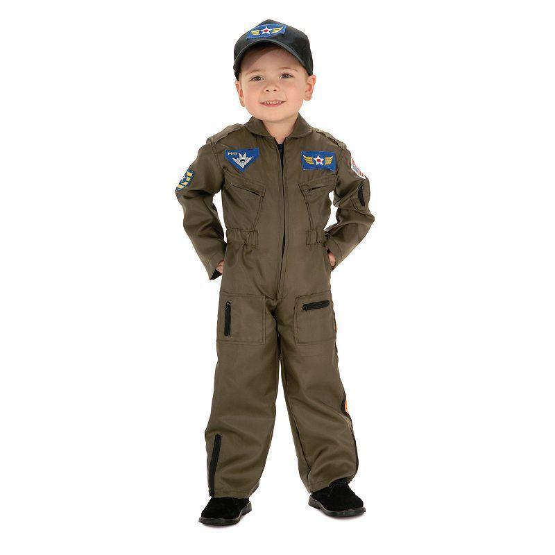 Air Force Pilot Costume - Kids, Boy's, Size: 8-10, Brown