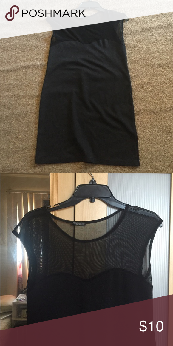 Mini Black Dress Worn once! In Excellent Condition! It's mesh/lace fabric on top Dresses Mini