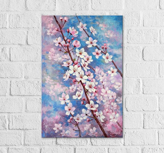 Photo of Cherry Blossom Painting Flower Large Vertical Wall Art Cherry Tree Paintings On Canvas Original Bedroom Wall Decor