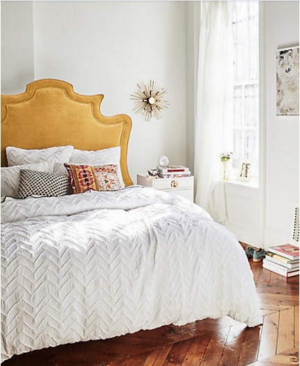 this bedframe shows how nice the yellow works with the various