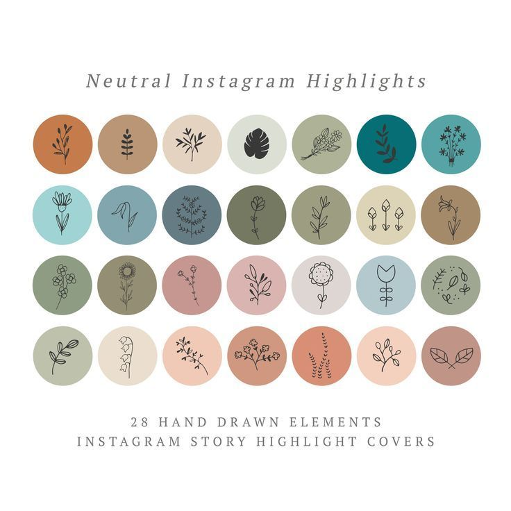 Instagram story highlight icons botanical neutral. Set 28