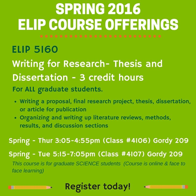 Course offering graphic - ELIP Program