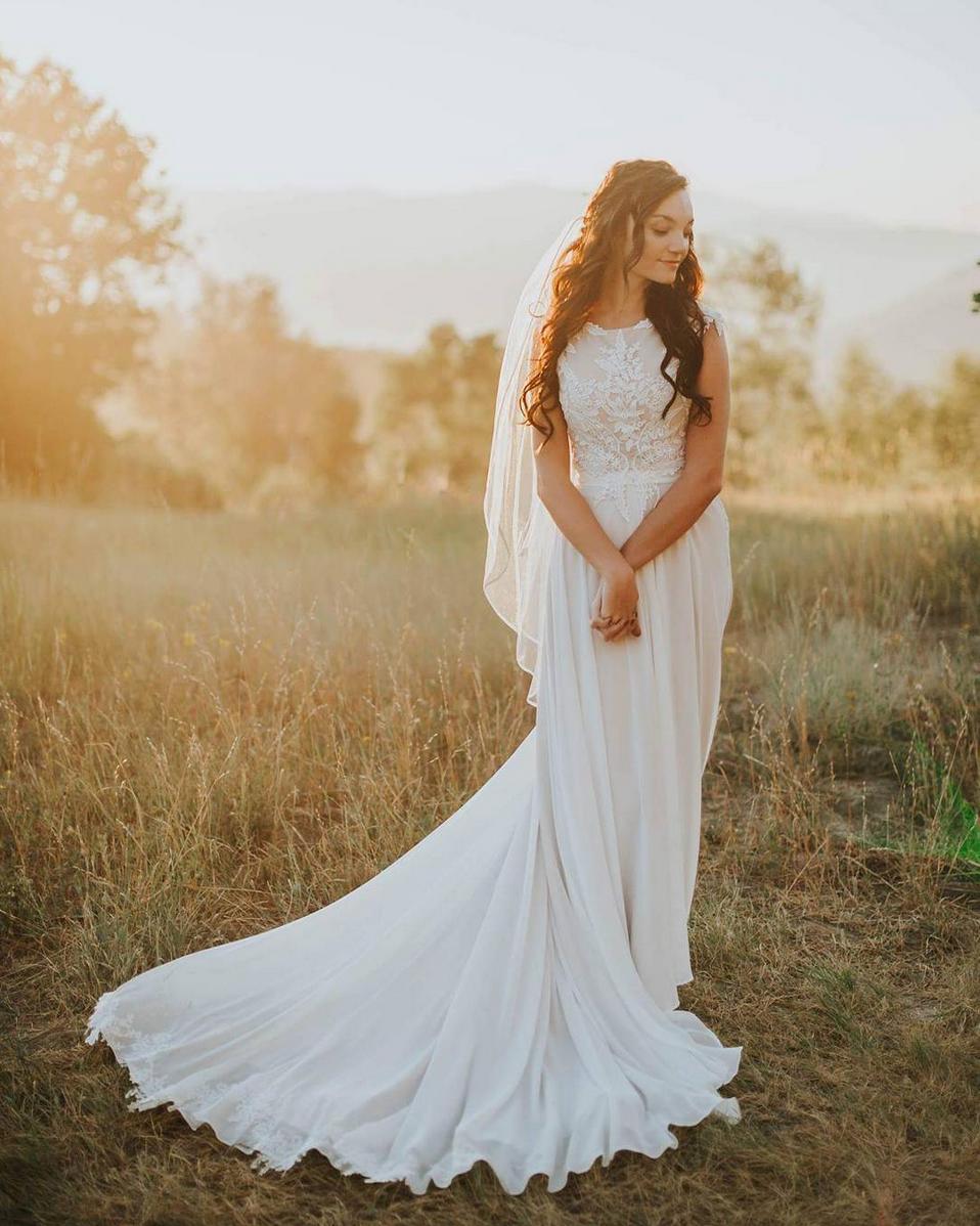 LDS Bride, Mormon, modest dress, goddess, bridals, flowy, lace, nude ...