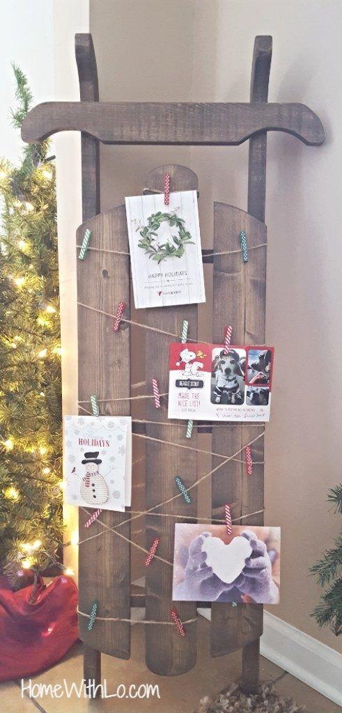 Wooden Sled Christmas Card Holder Christmas Card Display Christmas Card Holder Diy Diy Holiday Cards