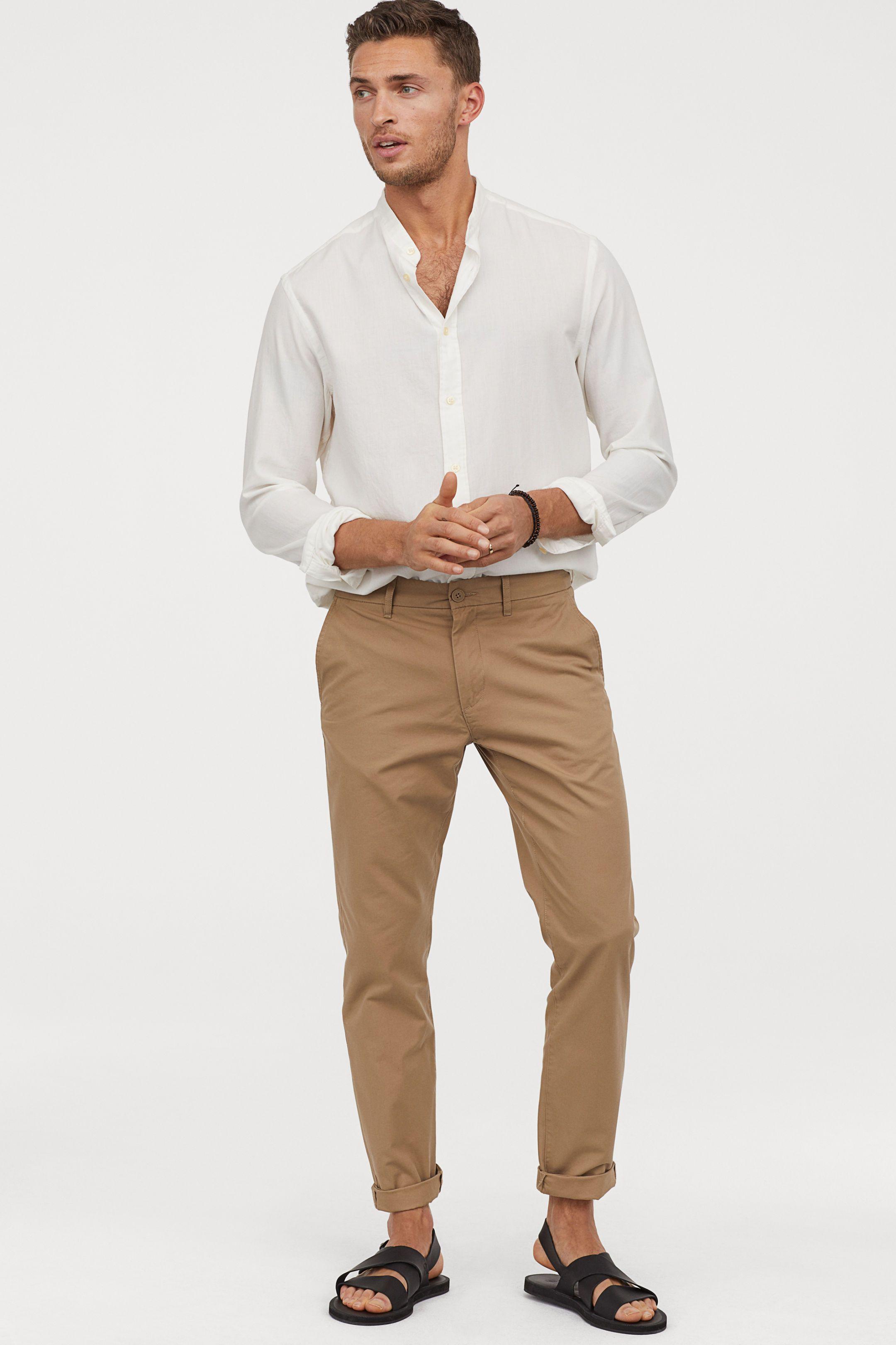 Vestiti Eleganti Hm Uomo.Chinos In Cotone Slim Fit Nel 2020 Abbigliamento Uomo Uomini