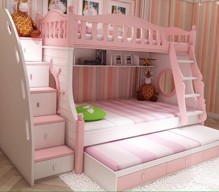 Love This Bed For A Little Girls Room 3 Bunk Bed With Trundle