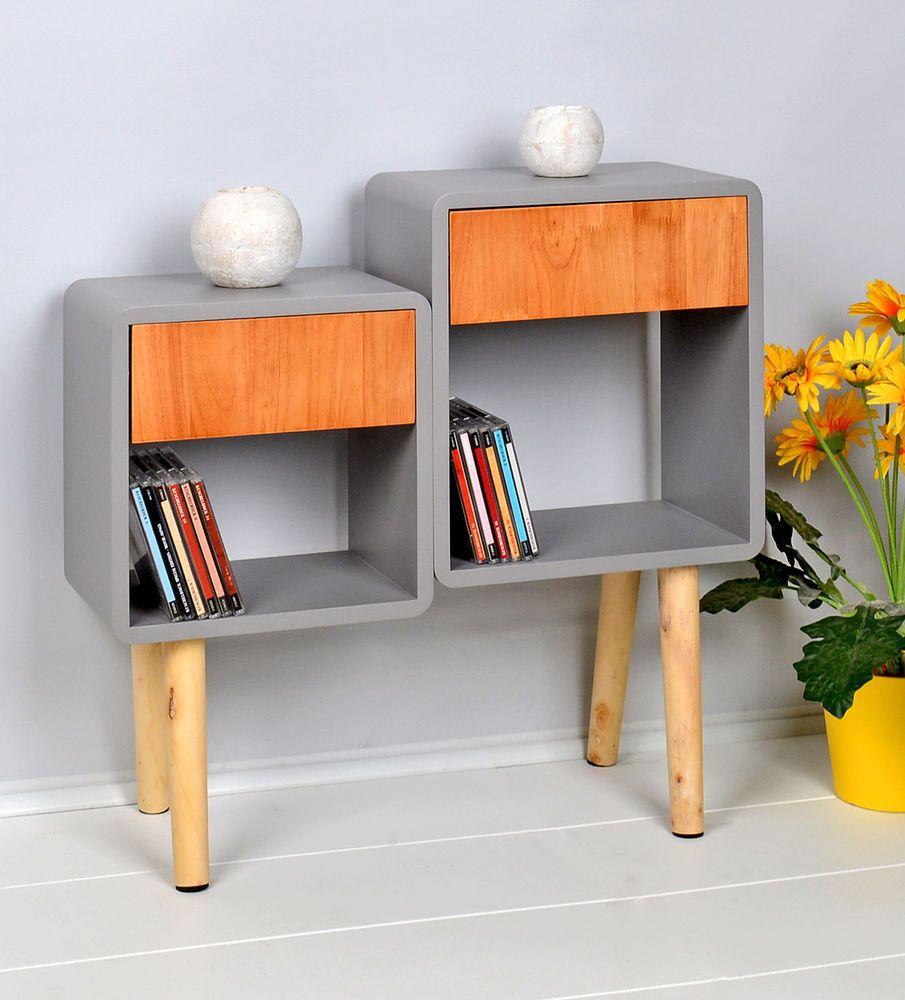 Ts Ideen Regal Schrank Bad Lounge Standregal Im Retro Cube Design Holz Mit Grau Standregal Regal Retro