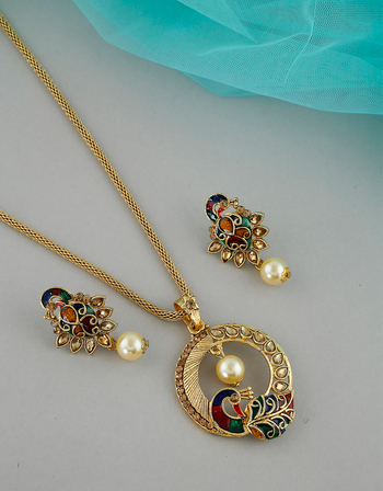Buy Peacock Design Gold Finish Fancy Chain Pendant Set For Girls Online Anuradha Art Jewellery Pendant Set Wedding Gifts For Friends Jewelry Art