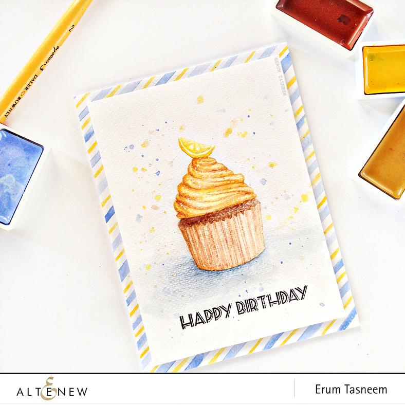 Altenew Layered Cupcake no line watercoloring using Gansai Tambi watercolours and Altenew Metallic Ink Spray by @pr0digy0