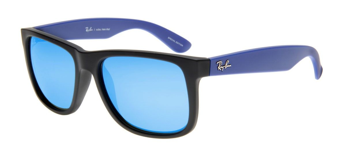 fd66189061ec8 Ray-Ban Justin Preto Fosco RB 4165L - Lente Espelhada Azul