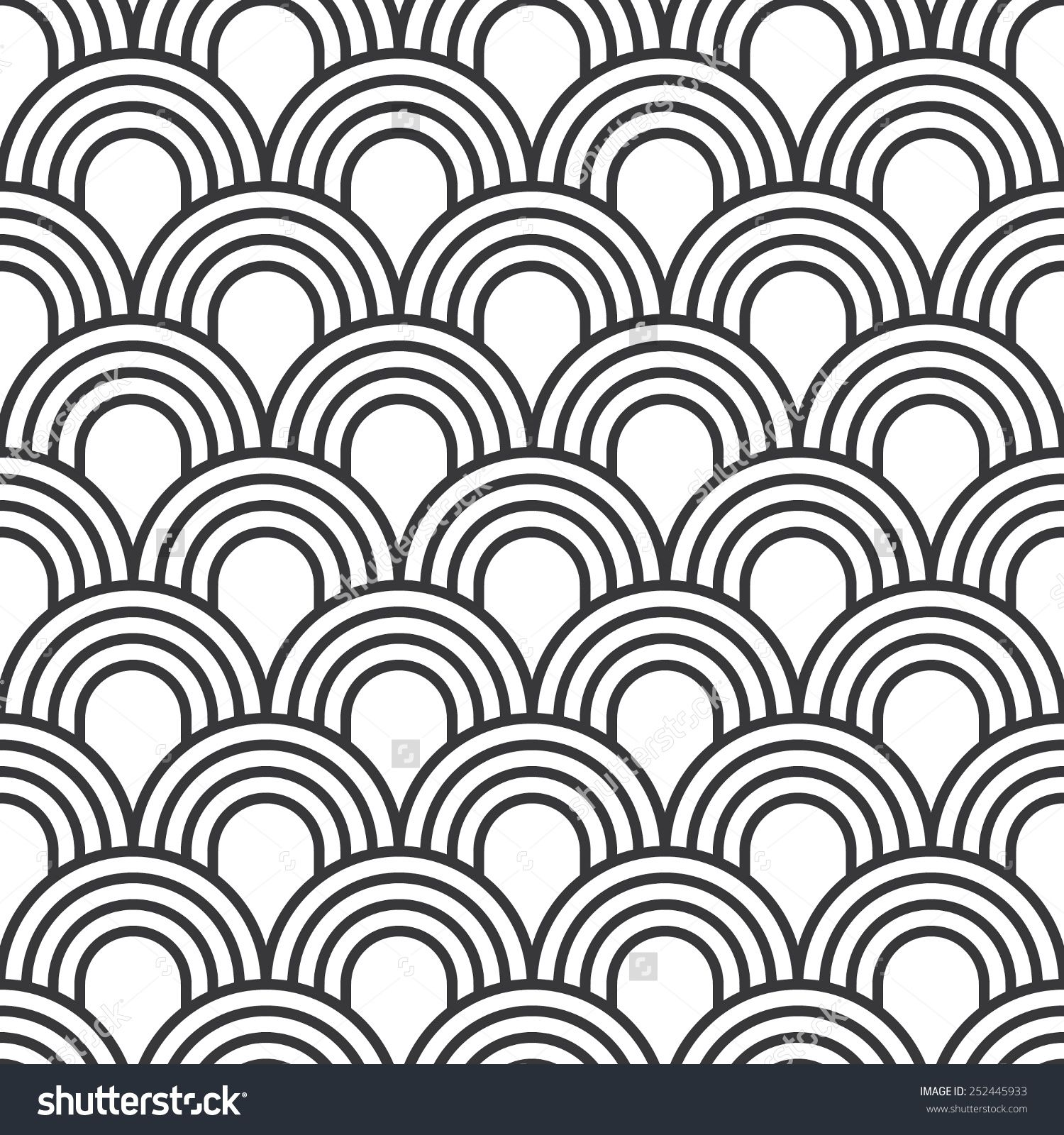 Seamless Simple Art Deco Wave Scales Pattern Vector ...