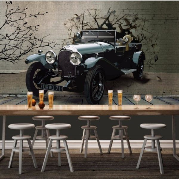 3d Vintage Car Wallpaper Custom Any Size Mural Car Wallpapers Mural Modern Interior Decor