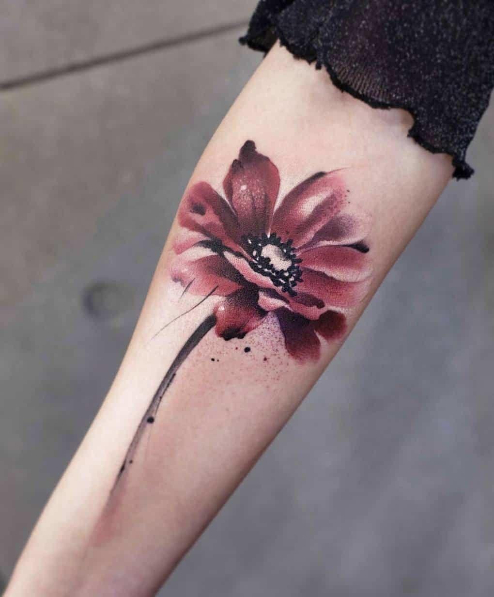 watercolor tattoo flower - 795×960