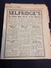 G3-1 Ephemera Ww1 1915 Advert Selfridge's The Store That Saves You Money