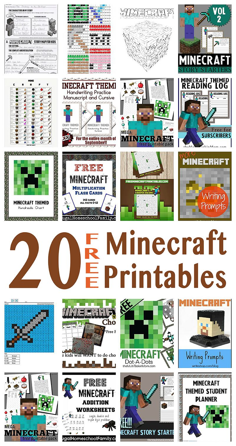 Minecraft Free Printables With Ideas For Learning Huge