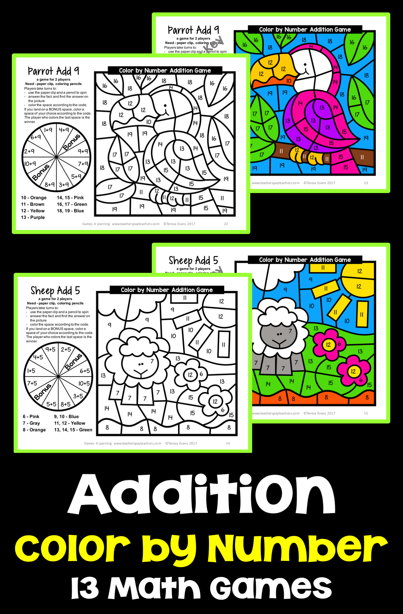 A fun twist on Color by number - Addition Math games for 2 players ...