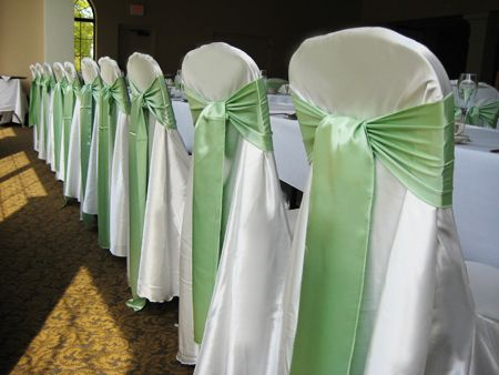 Wedding Chair Covers 1 White Covers Green Sashes