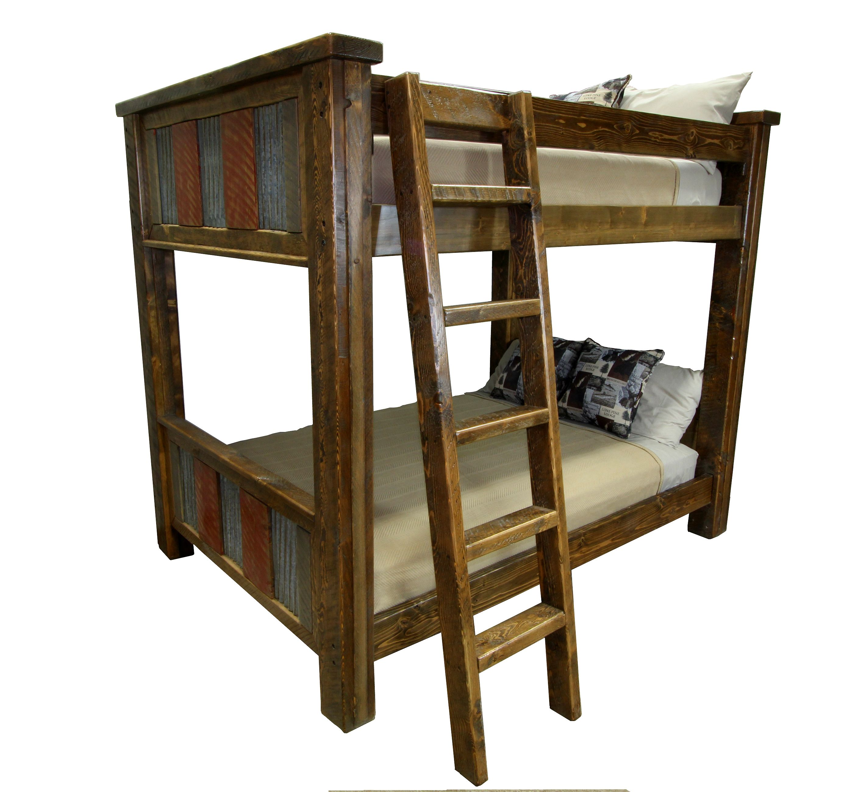 Rustic Metal And Wood Bunk Bed Shown With Detachable Ladder On Front