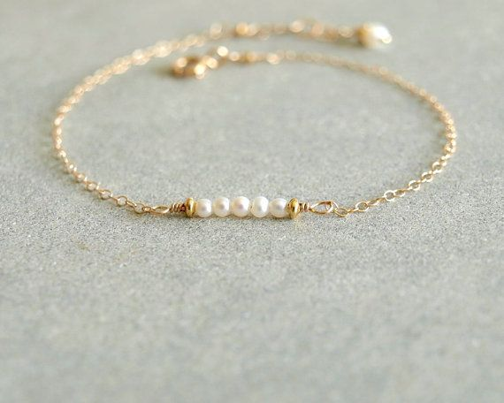 Small Pearl Bracelet Natural Pearls Gold Chain Emerald