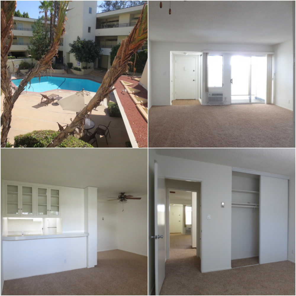 1-bedroom apartment in the heart of #Encino has lots of light, outdoor spaces, built in cabinetry, and a great swimming pool. And of course that #SFV location!