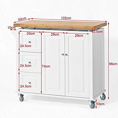SoBuy/® FKW36-WN Desserte Table roulante Meuble de Rangement pour Cuisine Plan de Travail Extensible