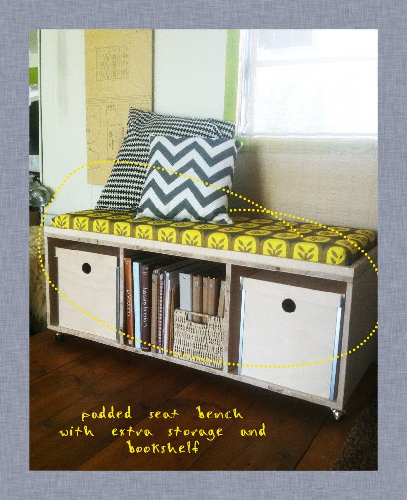 Diy Padded Seat Bench   I Would So Buy The Storage Unit Though But Make The