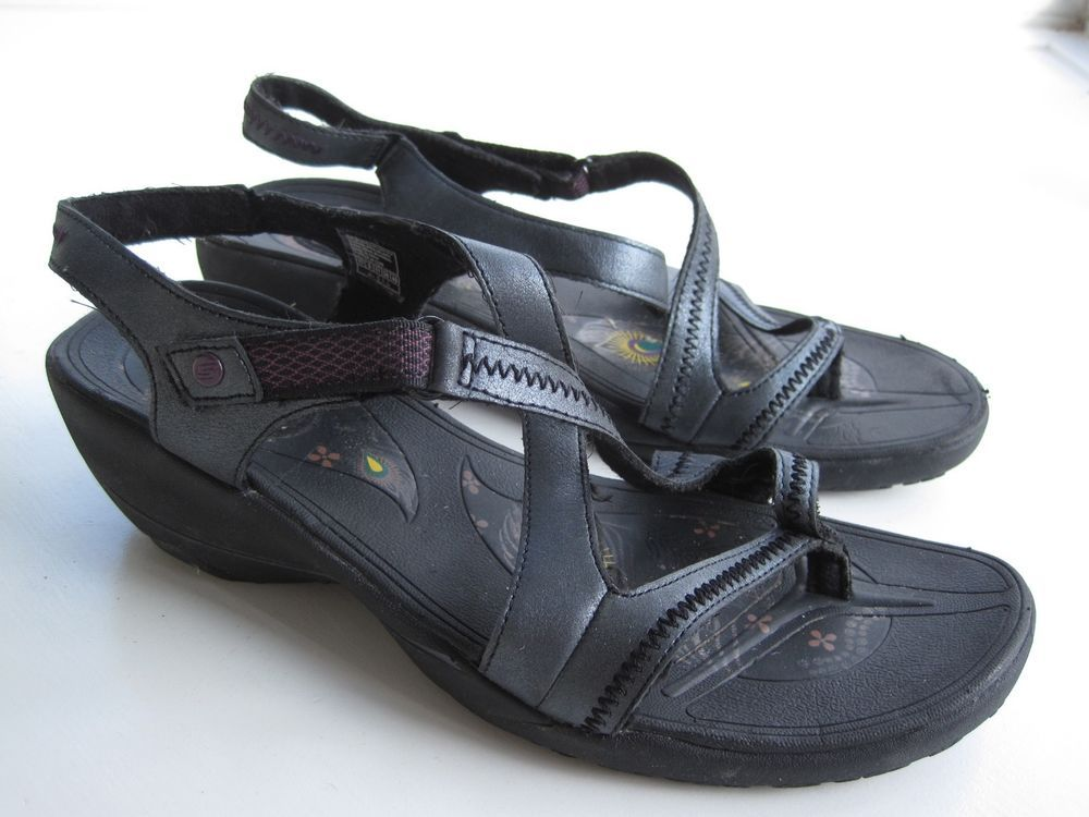 Black T'lites Google Tone Up Skechers Sn38729 Sandals Leather IfvYb6gy7