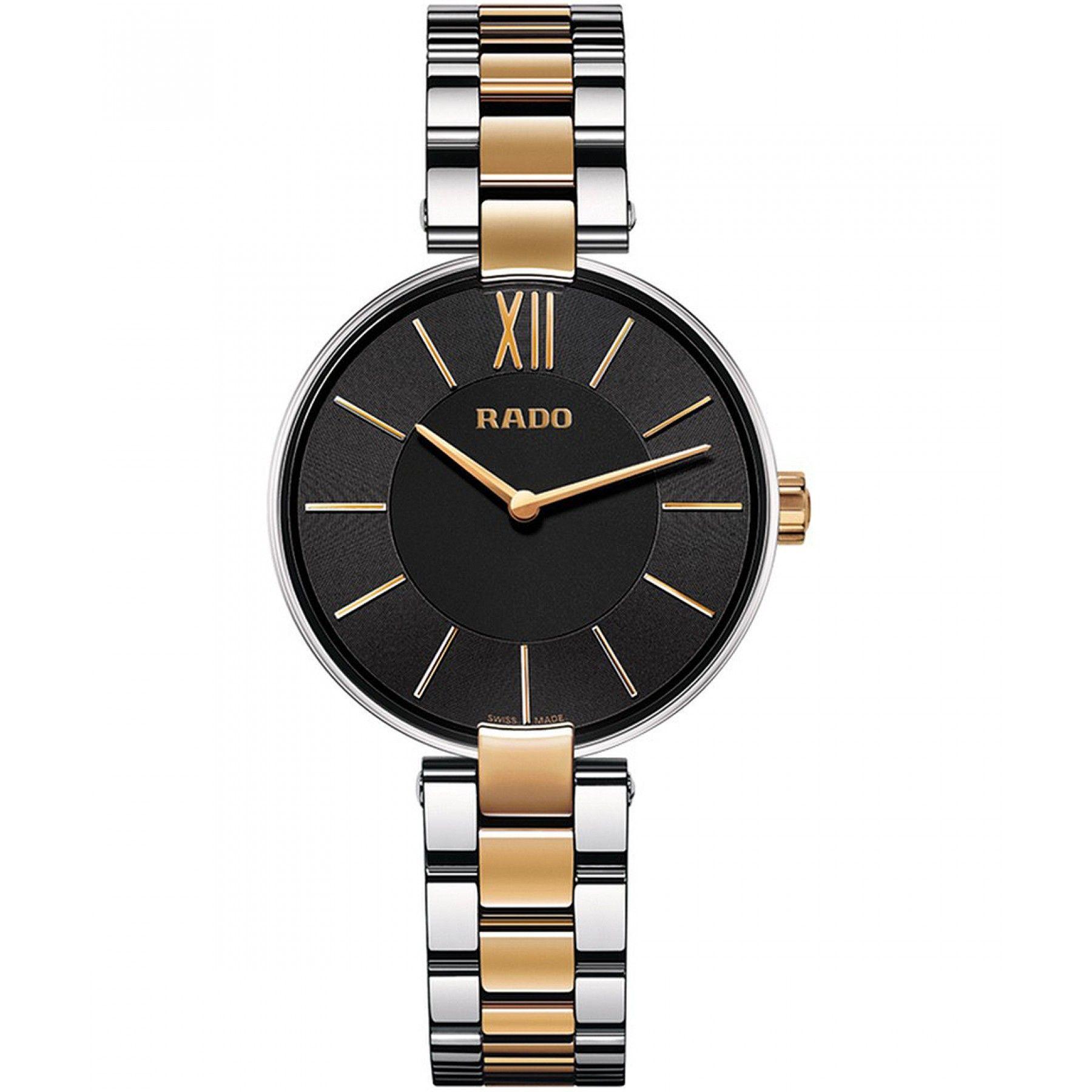 Reloj con caja en acero inoxidable con acabado en PVD oro rosado extensible  en acero con acabado PVD a dos tonos carátula negra y manecillas a  contraste. 866b7957c381