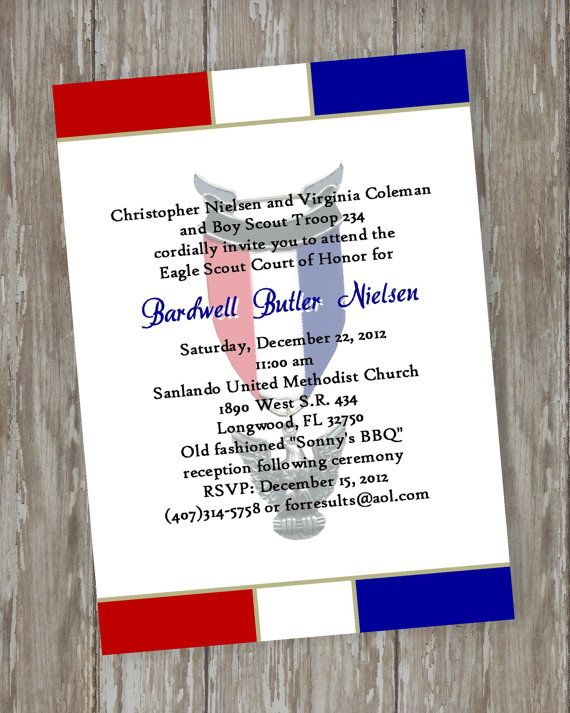 1000 images about BS Eagle COH Invites Programs on – Eagle Scout Invitation Cards