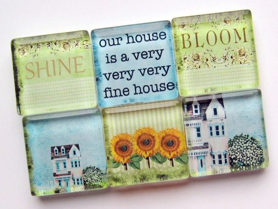 Magnets  Housewarming Gift  Glass Magnets  by StuckTogetherMagnets, $10.50