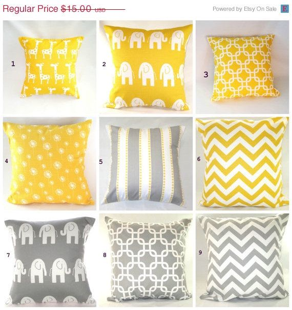On Pillows Yellow Pillow Baby Nursery Decorative Throw Grey