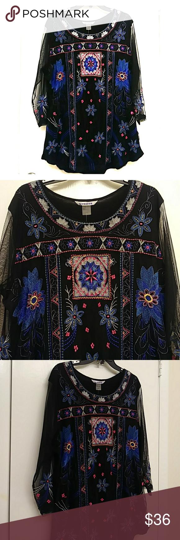 Peter NYGård Black Embroidery Tunic Sz XL Fashion