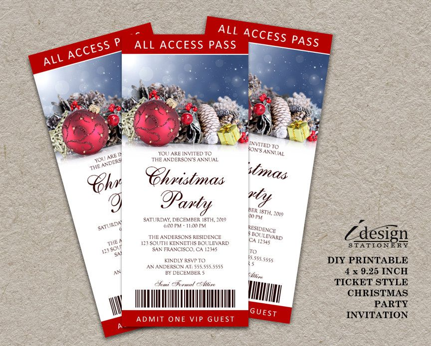 Printable Christmas \/ Holiday Party Ticket Invitations - ticket invitation