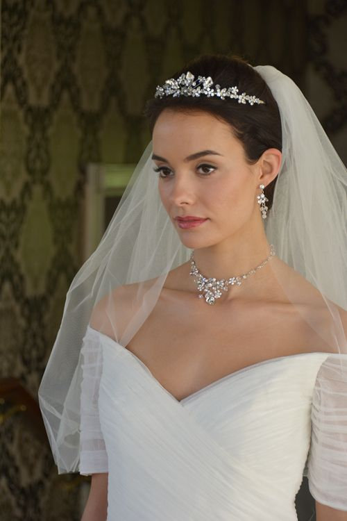 Crystal Wedding Jewelry Tiara Necklace and Earrings Bridal