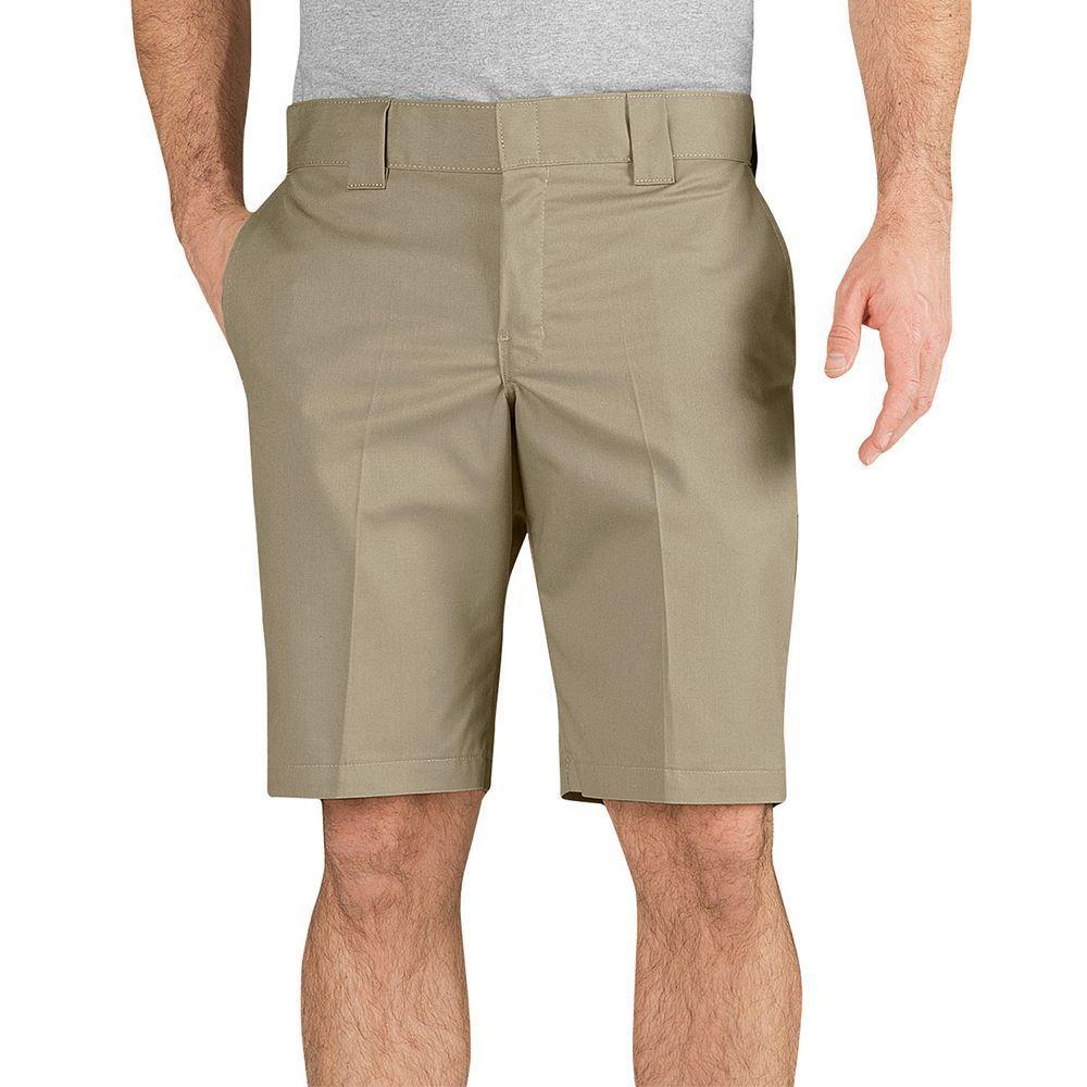 Men's Dickies Slim-Fit Flat-Front Work Shorts, Size: 28, Dark Beige