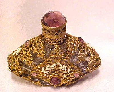 CZECH Jeweled Perfume Scent Bottle Vintage