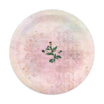 Vintage Dusted Pink and Gold Pansy Paper Plate - calligraphy gifts custom personalize diy create your  sc 1 st  Pinterest & Vintage Dusted Pink and Gold Pansy Paper Plate - calligraphy gifts ...