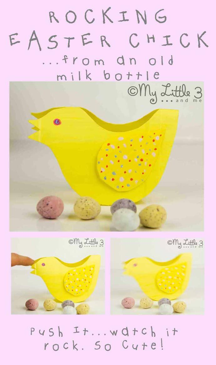 Rocking Easter Chick Crafts from recycled milk jugs! This Easter craft for kids is lots of fun. Push and rock this interactive kids recycled craft.  Great for Spring, Summer and Easter. (free printable template)