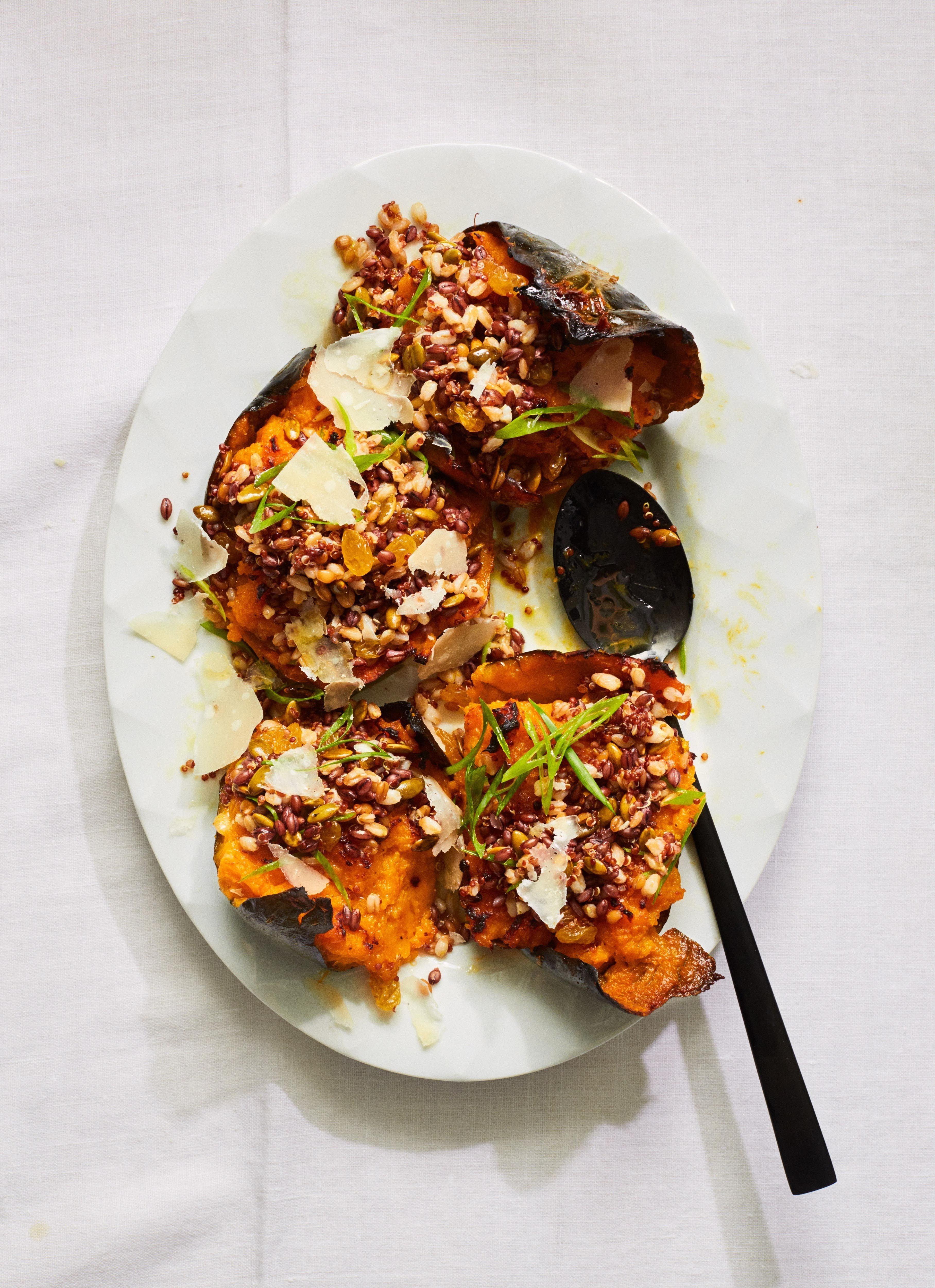 Twice Roasted Squash With Parmesan Butter And Grains