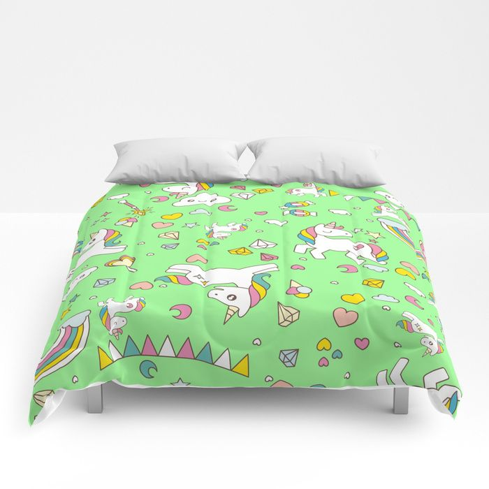 Buy Unicorn Green Pattern Comforters by dollmadeinjapan. Worldwide shipping available at Society6.com. Just one of millions of high quality products available.