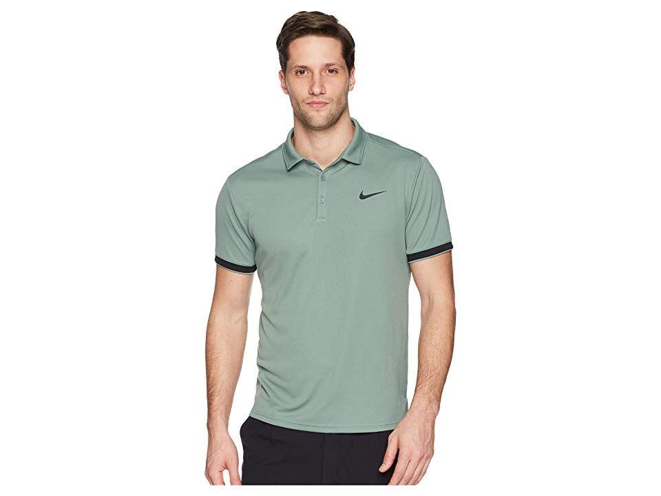 eb4280849 Nike Court Dry Tennis Polo (Clay Green/Black/Black) Men's Clothing ...