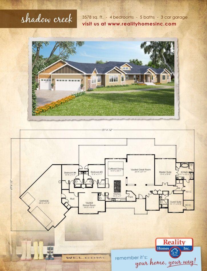 3578 Square Foot Shadow Creek Floor Plan 4 Bedroom 5 Bathroom 3 Car Garage Floor Plans Custom Home Builders Custom Homes