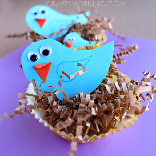 Make Cute Blue Bird Crafts Using A Cupcake Liner As The