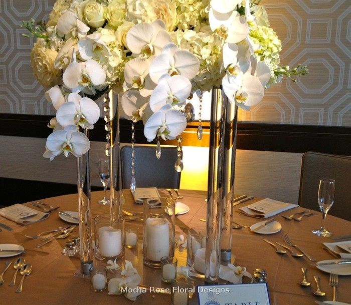 Tall modern wedding centerpieces white