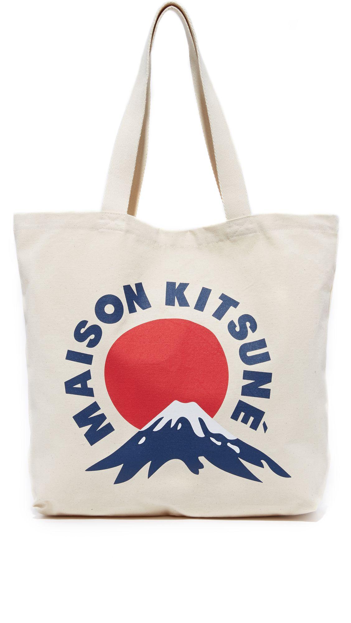 MAISON KITSUNÉ Mount Fuji Tote. #maisonkitsuné #bags #hand bags #canvas #tote #