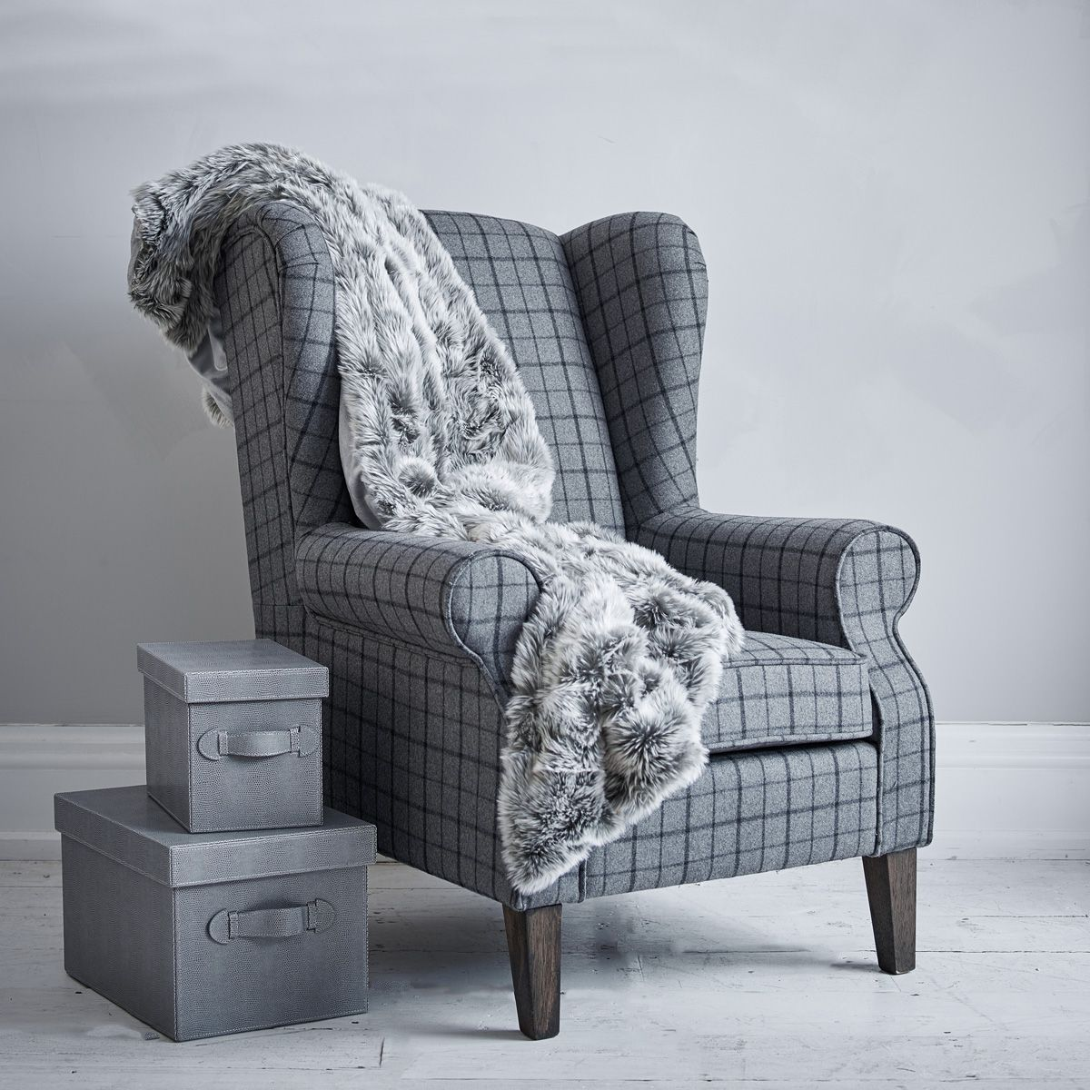 Charlie Wingback Chair   Grey Check