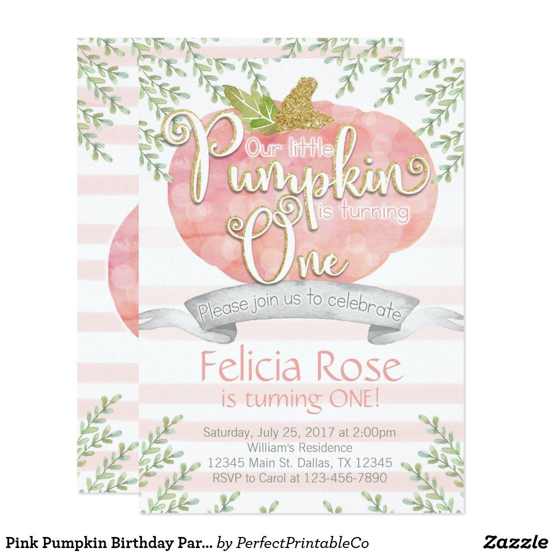Pink Pumpkin Birthday Party Invitation Invite   Pumpkin birthday ...