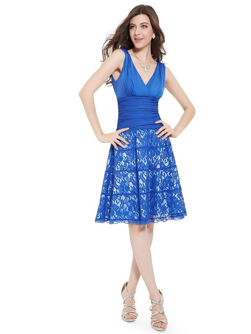 Kurzes Doppel-V-Ausschnitt Cocktailkleid in Blau | Blaue Kleider ...