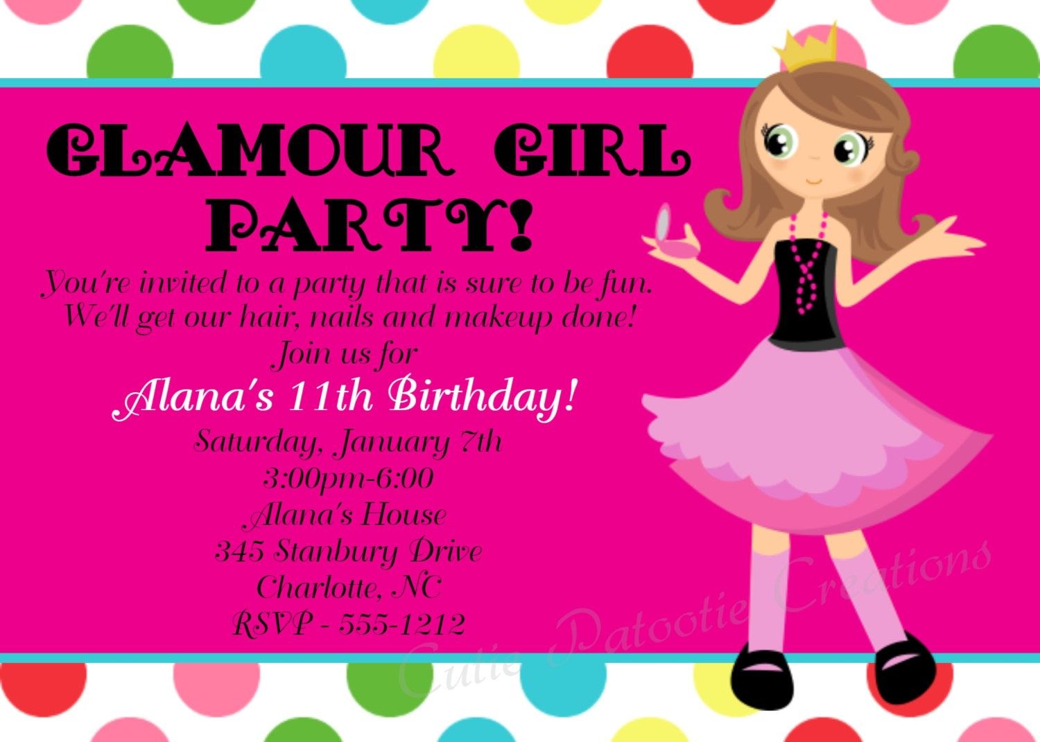 Glamour Girl Birthday Invitation Printable or Printed Fashion – Girls Spa Party Invitations
